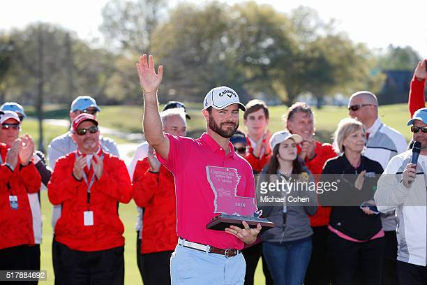 Wesley Bryan holds the trophy at the trophy presentation ceremony after the final round of the Chitimacha Louisiana Open presented by NACHER held at...
