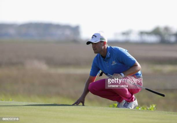 Wesley Bryan lines up a putt on the 18th hole during the final round of the 2017 RBC Heritage at Harbour Town Golf Links on April 16 2017 in Hilton...