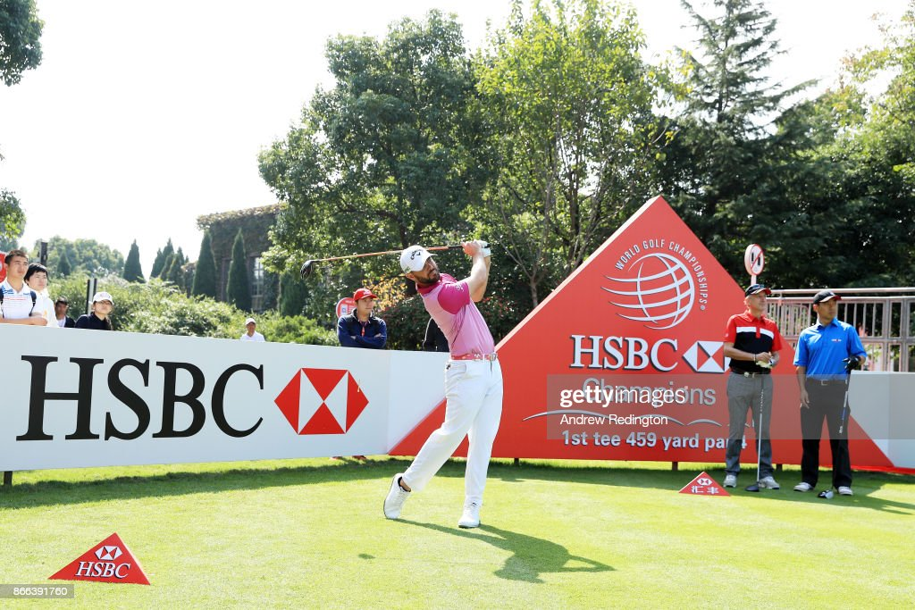 Wesley Bryan of the United States plays a shot during the pro-am prior to the WGC - HSBC Champions at Sheshan International Golf Club on October 25, 2017 in Shanghai, China.
