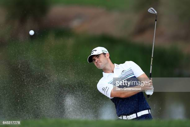 Wesley Bryan of the United States plays a shot from a bunker on the third hole during the third round of The Honda Classic at PGA National Resort and...