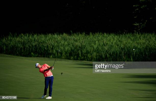 Wesley Bryan of the United States plays a shot on the tenth hole during the second round of the Quicken Loans National on June 30 2017 TPC Potomac in...
