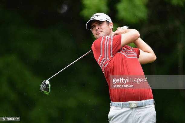 Wesley Bryan of the United States plays his shot during a practice round prior to the 2017 PGA Championship at Quail Hollow Club on August 8 2017 in...