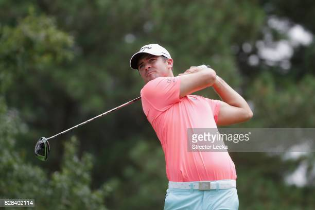 Wesley Bryan of the United States plays his shot during a practice round prior to the 2017 PGA Championship at Quail Hollow Club on August 9 2017 in...