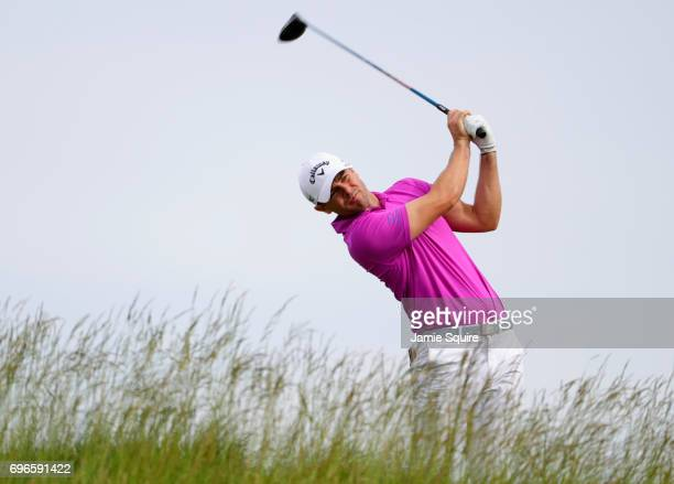 Wesley Bryan of the United States plays his shot from the fifth tee during the second round of the 2017 US Open at Erin Hills on June 16 2017 in...