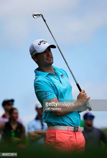 Wesley Bryan of the United States plays his shot from the ninth tee during the third round of the Quicken Loans National on July 1 2017 TPC Potomac...