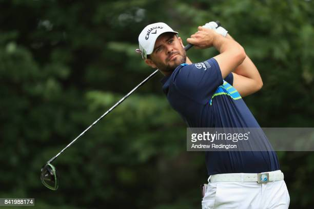 Wesley Bryan of the United States plays his shot from the ninth tee during round two of the Dell Technologies Championship at TPC Boston on September...