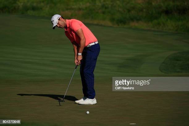 Wesley Bryan of the United States putts on the tenth green during the second round of the Quicken Loans National on June 30 2017 TPC Potomac in...