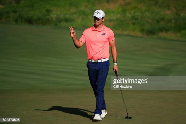 Wesley Bryan of the United States reacts on the tenth green during the second round of the Quicken Loans National on June 30 2017 TPC Potomac in...