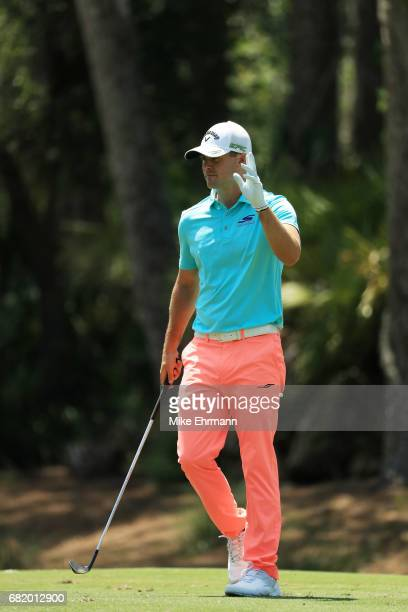Wesley Bryan of the United States reacts on the tenth hole during the first round of THE PLAYERS Championship at the Stadium course at TPC Sawgrass...