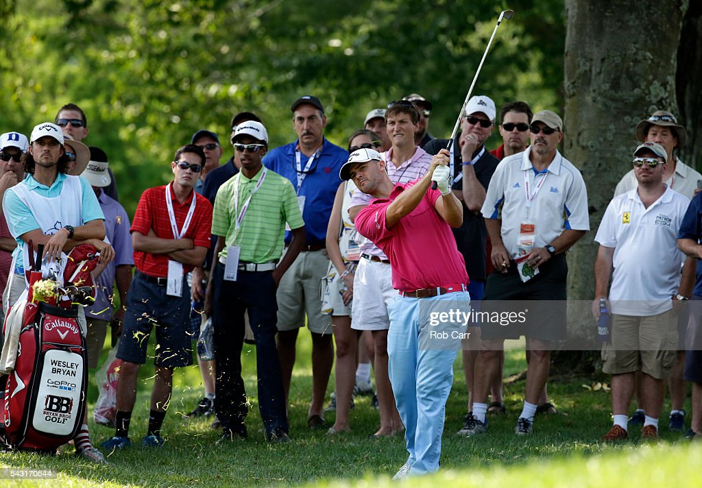 Wesley Bryan plays a shot on the ninth hole during the final round of the Quicken Loans National at Congressional Country Club on June 26, 2016 in Bethesda, Maryland.
