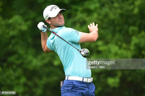 Wesley Bryan plays his shot from the 11th tee during round two of the Wells Fargo Championship at Eagle Point Golf Club on May 5 2017 in Wilmington...