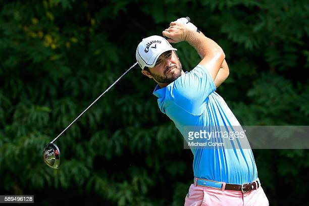 Wesley Bryan plays his shot from the second tee during the final round of the John Deere Classic at TPC Deere Run on August 14 2016 in Silvis Illinois