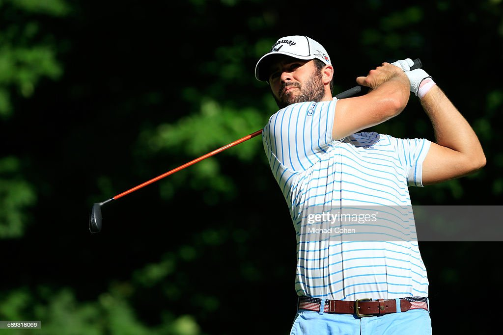 Wesley Bryan plays his shot from the sixth tee during the third round of the John Deere Classic at TPC Deere Run on August 13 2016 in Silvis Illinois
