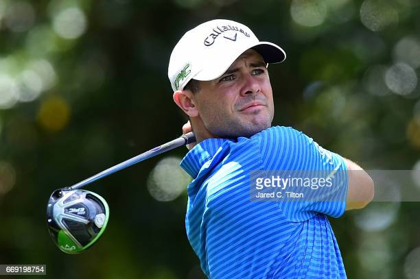 Wesley Bryan plays his tee shot on the fifth hole during the final round of the 2017 RBC Heritage at Harbour Town Golf Links on April 16 2017 in...