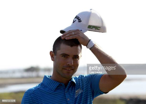 Wesley Bryan reacts after the 2017 RBC Heritage at Harbour Town Golf Links on April 16 2017 in Hilton Head Island South Carolina