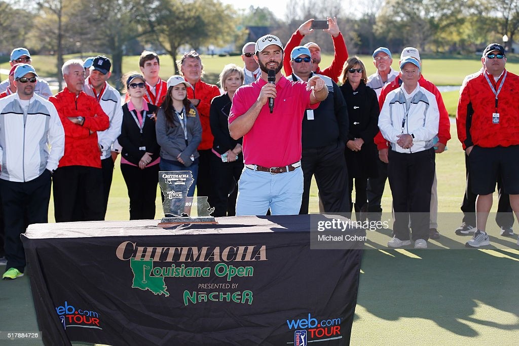 Wesley Bryan speaks at the trophy presentation ceremony after the final round of the Chitimacha Louisiana Open presented by NACHER held at Le...