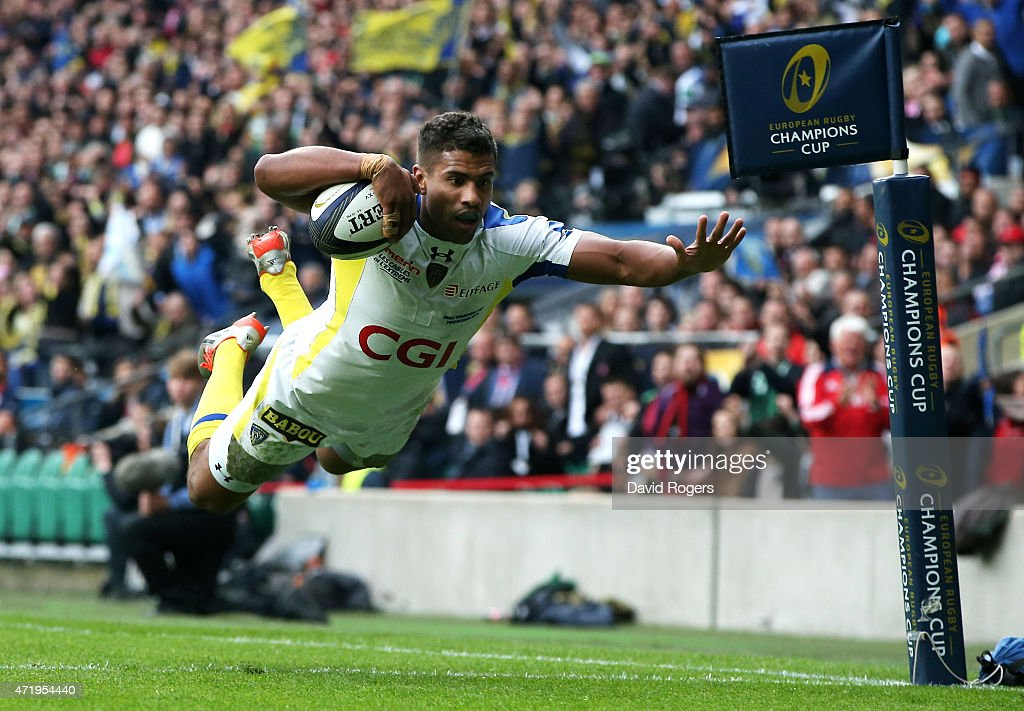 Wesley Fofana of Clermont dives over to score the opening try during the European Rugby Champions Cup Final match between ASM Clermont Auvergne and RC Toulon at Twickenham Stadium on May 2, 2015 in London, England.