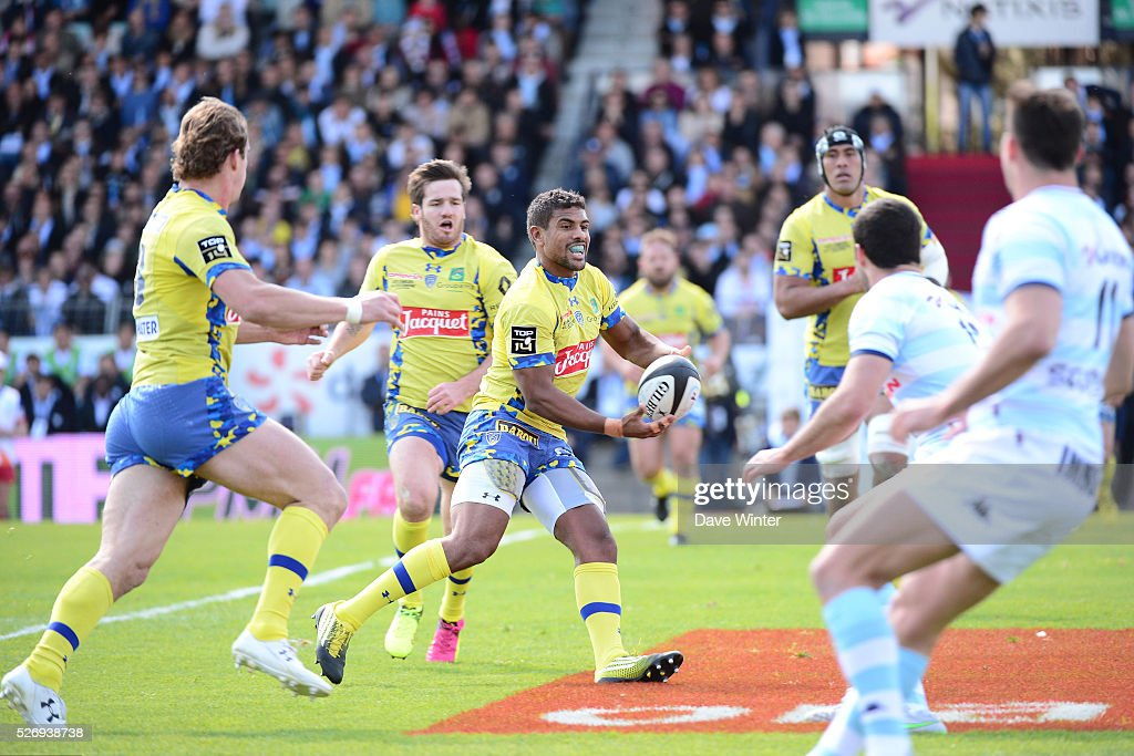 Wesley Fofana of Clermont during the French Top 14 rugby union match between Racing 92 v Clermont at Stade Yves Du Manoir on May 1, 2016 in Colombes, France.