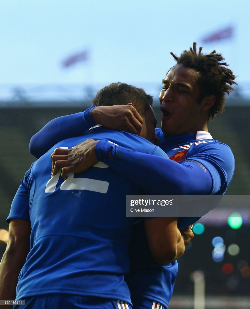 Wesley Fofana of France celebrates scoring a try with Benjamin Fall of France during the RBS Six Nations match between England and France at Twickenham Stadium on February 23, 2013 in London, England.