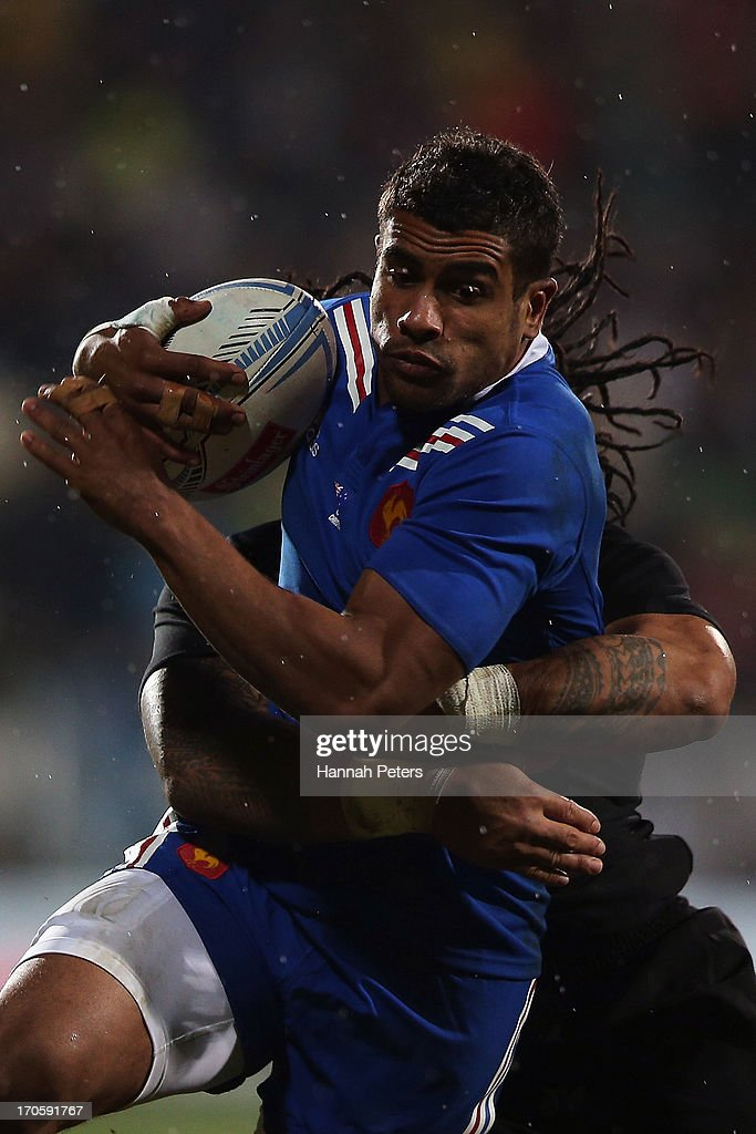 Wesley Fofana of France charges forward during the International Test match between the New Zealand All Blacks and France at AMI Stadium on June 15, 2013 in Christchurch, New Zealand.
