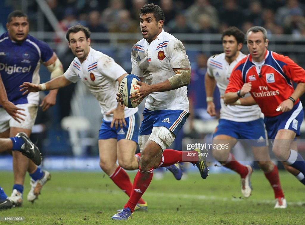 <a gi-track='captionPersonalityLinkClicked' href=/galleries/search?phrase=Wesley+Fofana&family=editorial&specificpeople=6144061 ng-click='$event.stopPropagation()'>Wesley Fofana</a> of France in action during the Rugby Autumn International between France and Samoa at the Stade de France on November 24, 2012 in Paris, France.
