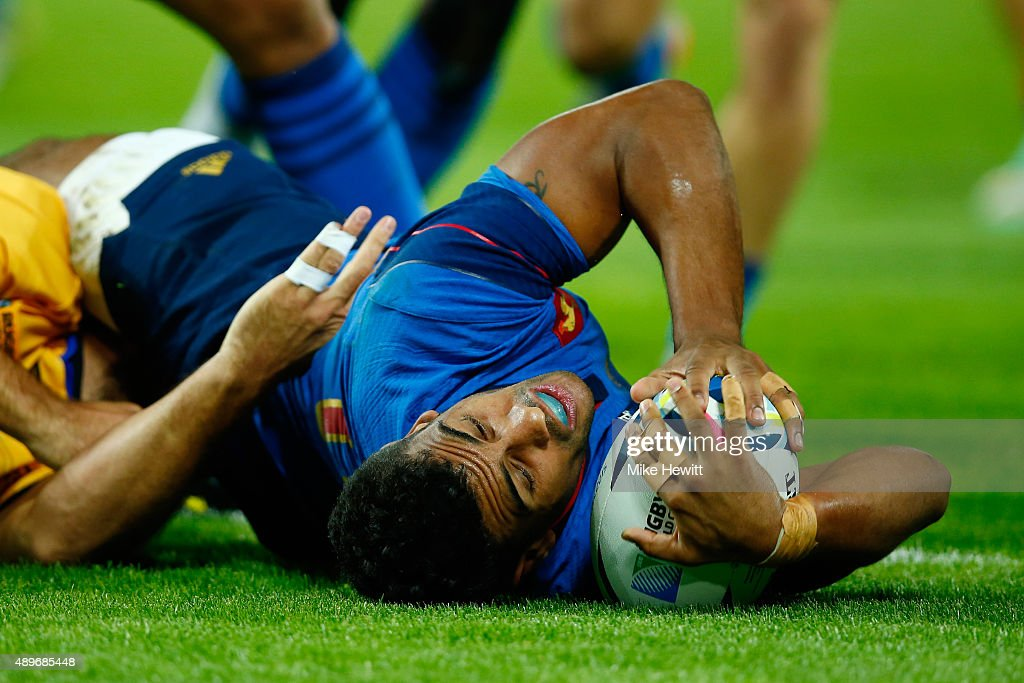 Wesley Fofana of France scores his teams fourth try during the 2015 Rugby World Cup Pool D match between France and Romania at the Olympic Stadium on September 23, 2015 in London, United Kingdom.