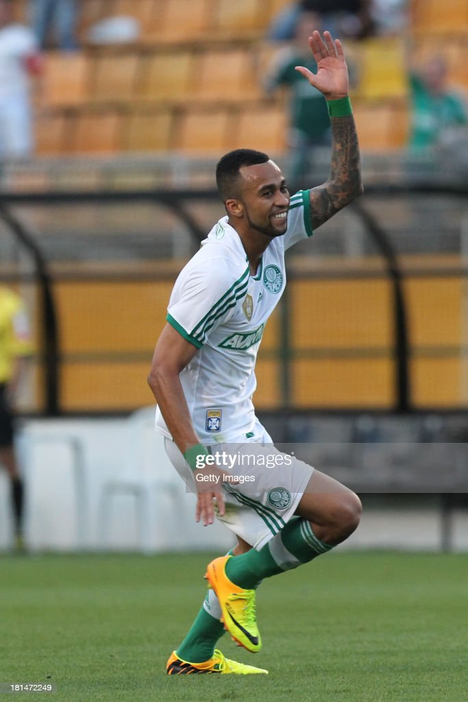 Wesley, from Palmeiras, celebrates a scored goal during the match between Palmeiras and Sport for the Brazilian Series B 2013 at Pacaembu stadium on September 21, 2013 in Sao Paulo, Brazil.
