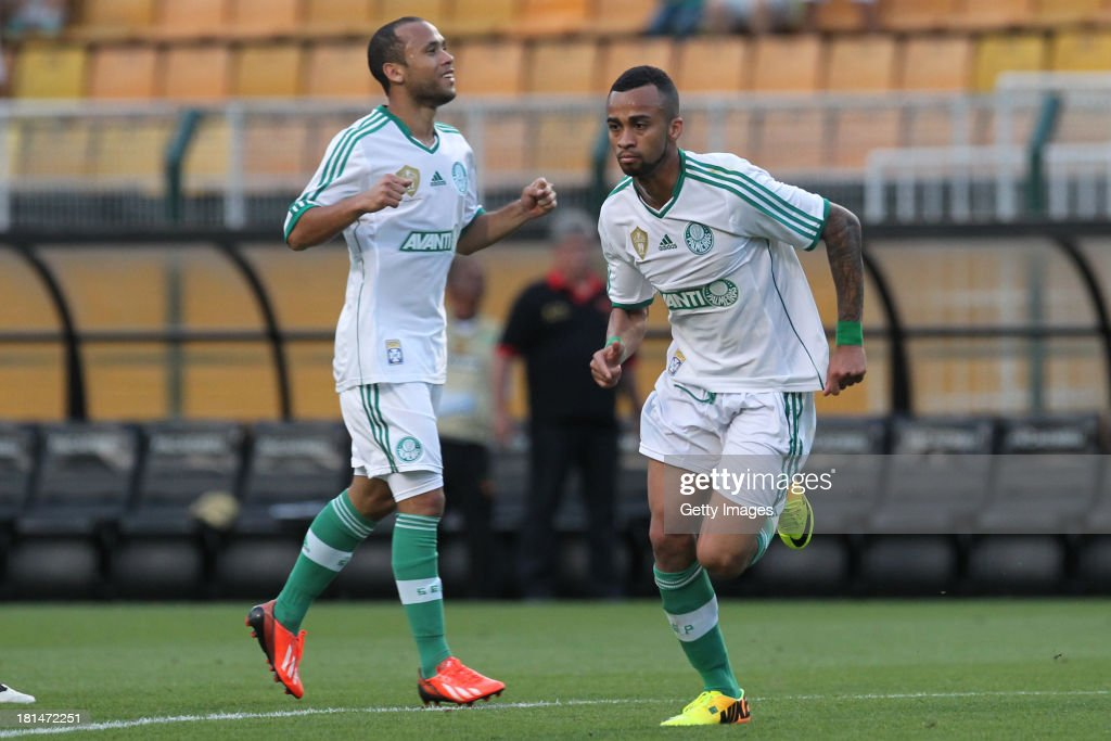 Wesley (R), from Palmeiras, celebrates a scored goal during the match between Palmeiras and Sport for the Brazilian Series B 2013 at Pacaembu stadium on September 21, 2013 in Sao Paulo, Brazil.