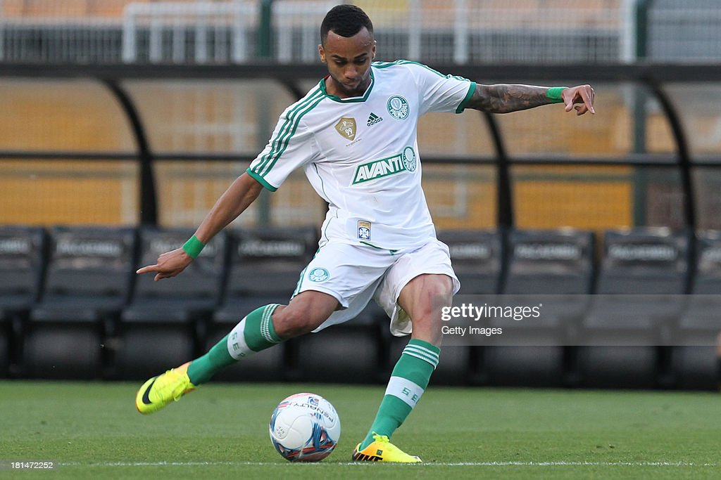 Wesley, from Palmeiras, kicks for a scored goal during the match between Palmeiras and Sport for the Brazilian Series B 2013 at Pacaembu stadium on September 21, 2013 in Sao Paulo, Brazil.