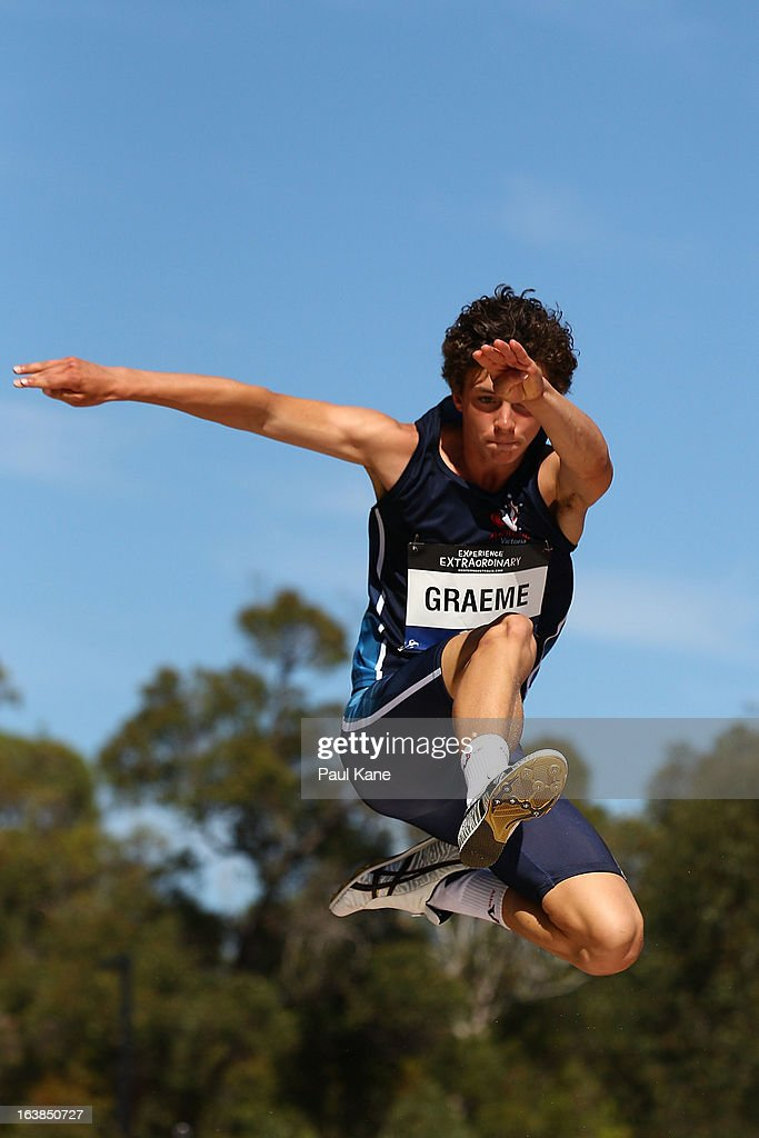 Wesley Graeme of Victoria competes in the mens u16 long jump during day six of the Australian Junior Championships at the WA Athletics Stadium on March 17, 2013 in Perth, Australia.