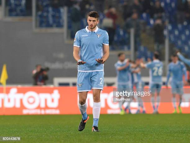 Wesley Hoedt during the Italian Serie A football match between SS Lazio and AC Milan at the Olympic Stadium in Rome on february 13 2017