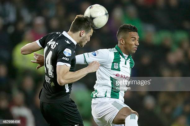 Wesley Hoedt of AZ Danny Hoesen of FC Groningen during the Dutch Eredivisie match between FC Groningen and AZ Alkmaar at Euroborg on February 8 2015...