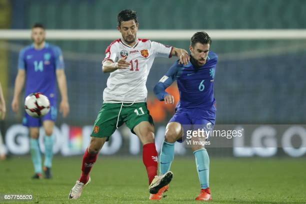 Wesley Hoedt of Holland Stanislav Manolev of Bulgaria Kevin Strootman of Hollandduring the FIFA World Cup 2018 qualifying match between Bulgaria and...