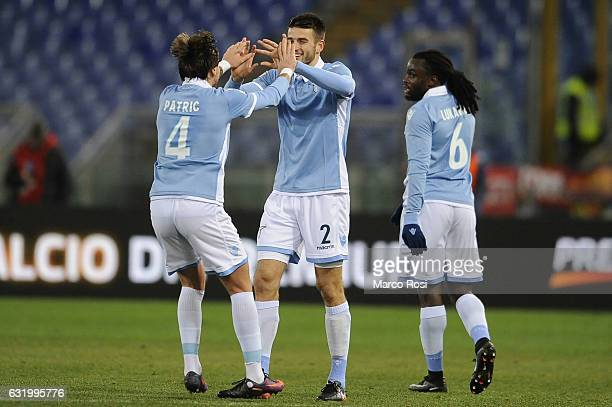 Wesley Hoedt of SS Lazio celebrates a second goal during the TIM Cup match between SS Lazio and Genoa CFC at Olimpico Stadium on January 18 2017 in...