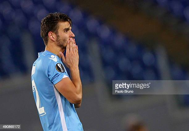Wesley Hoedt of SS Lazio celebrates after scoring the team's second goal during the UEFA Europa League group G match between SS Lazio and AS...