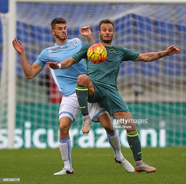 Wesley Hoedt of SS Lazio competes for the ball with Alberto Gilardino of US Citta' di Palermo during the Serie A match between SS Lazio and US Citta...