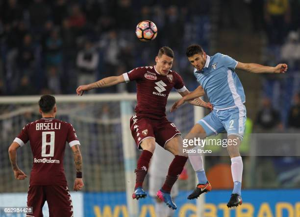 Wesley Hoedt of SS Lazio competes for the ball with Andrea Belotti of FC Torino during the Serie A match between SS Lazio and FC Torino at Stadio...