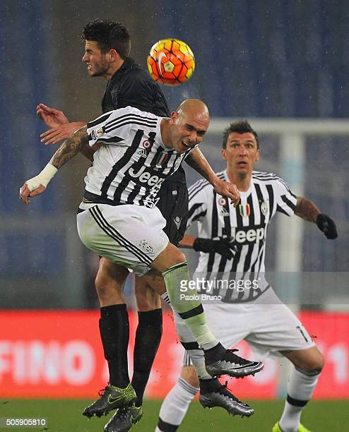 Wesley Hoedt of SS Lazio competes for the ball with Simone Zaza of Juventus FC during the TIM Cup match between SS Lazio and Juventus FC at Stadio...