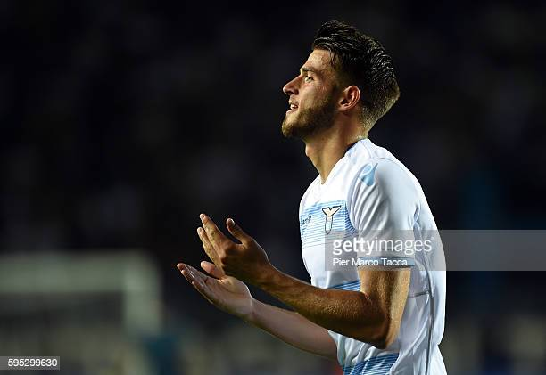 Wesley Hoedt of SS Lazio gestures during the Serie A match between Atalanta BC and SS Lazio at Stadio Atleti Azzurri d'Italia on August 21 2016 in...