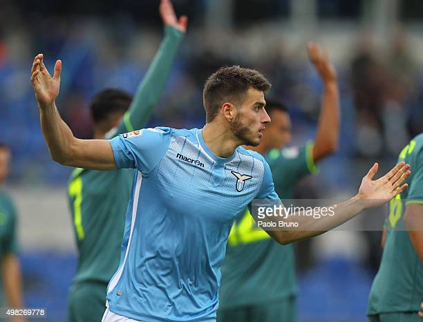 Wesley Hoedt of SS Lazio reacts during the Serie A match between SS Lazio and US Citta di Palermo at Stadio Olimpico on November 22 2015 in Rome Italy