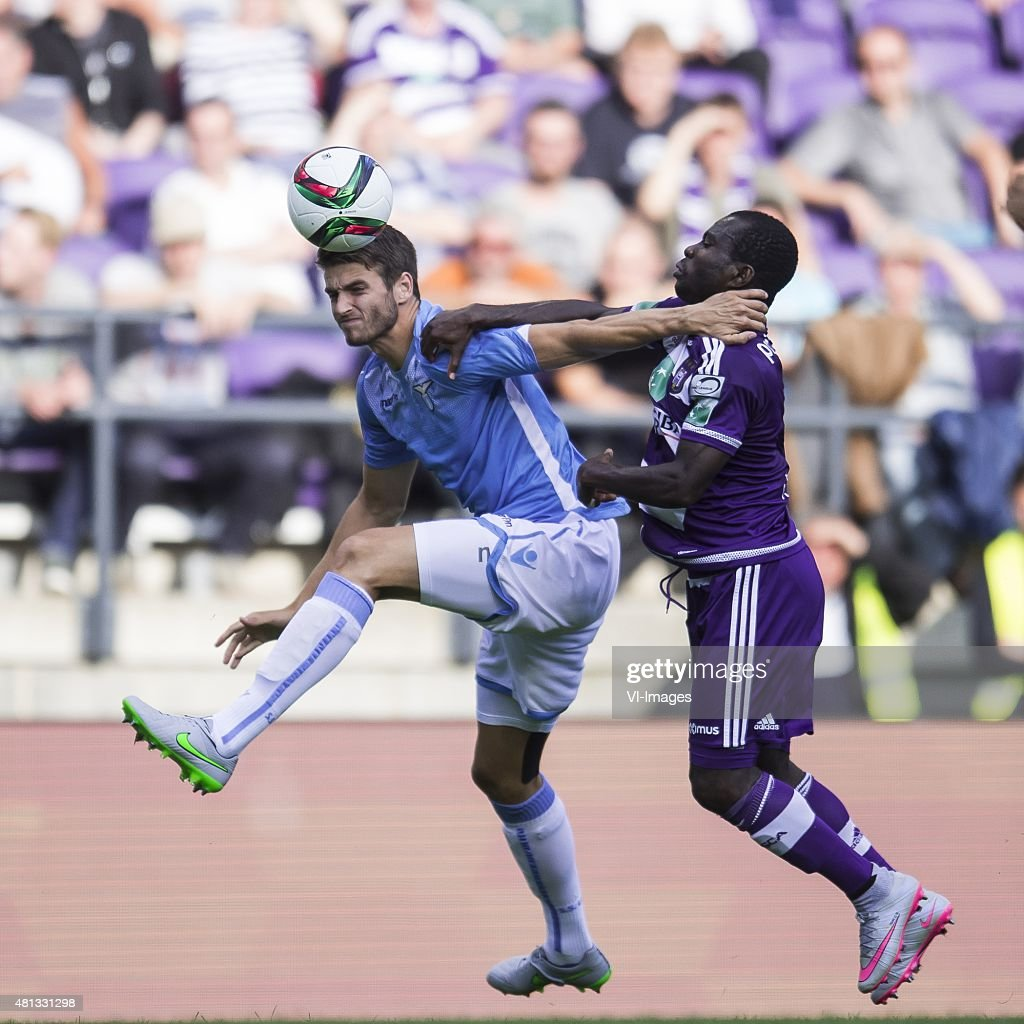 Wesley Hoedt of SS Lazio Roma Frank Acheampong of RSC Anderlecht during the preseason friendly match between RSC Anderlecht and SS Lazio Roma on July...