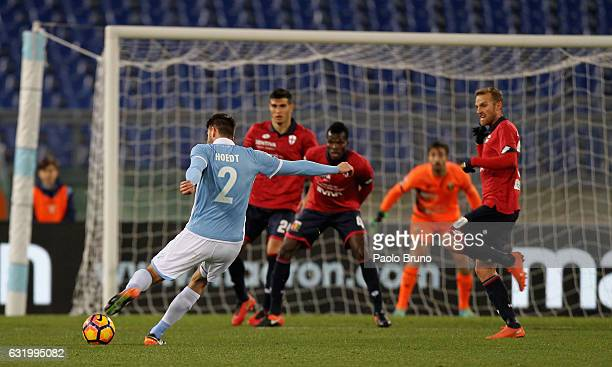 Wesley Hoedt of SS Lazio scores the opening goal during the TIM Cup match between SS Lazio and Genoa CFC at Olimpico Stadium on January 18 2017 in...