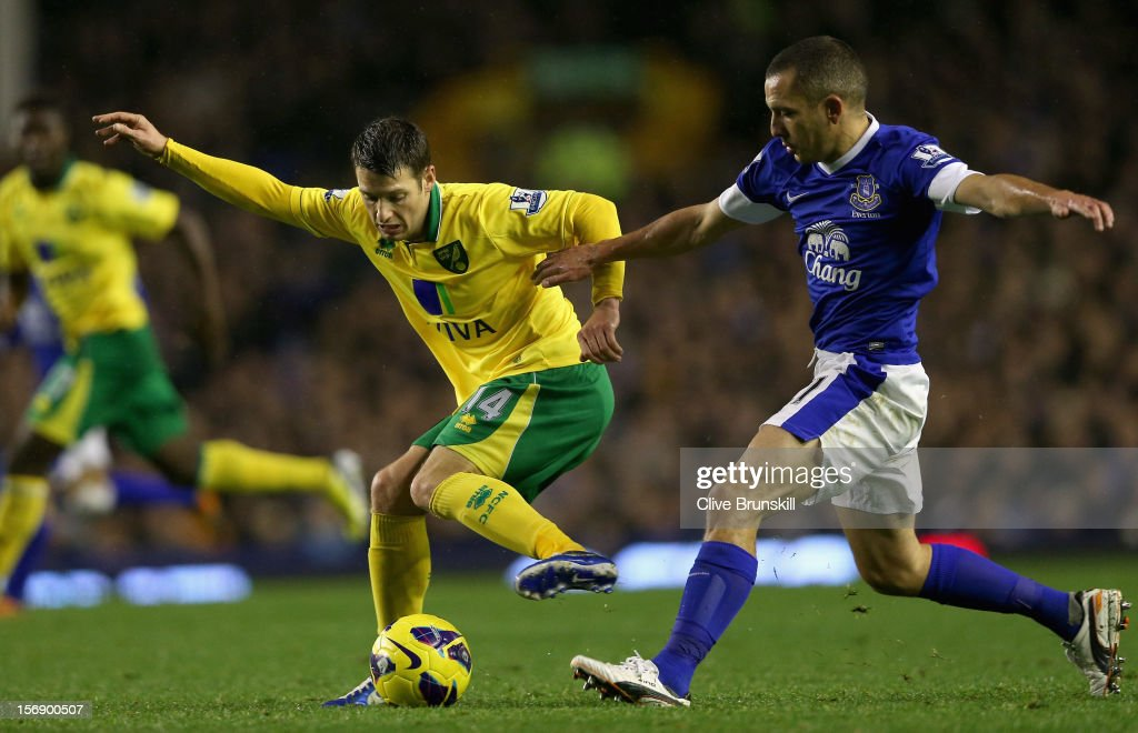 Wesley Hoolahan of Norwich City in action with <a gi-track='captionPersonalityLinkClicked' href=/galleries/search?phrase=Leon+Osman&family=editorial&specificpeople=208939 ng-click='$event.stopPropagation()'>Leon Osman</a> of Everton during the Barclays Premier League match between Everton and Norwich City at Goodison Park on November 24, 2012 in Liverpool, England.