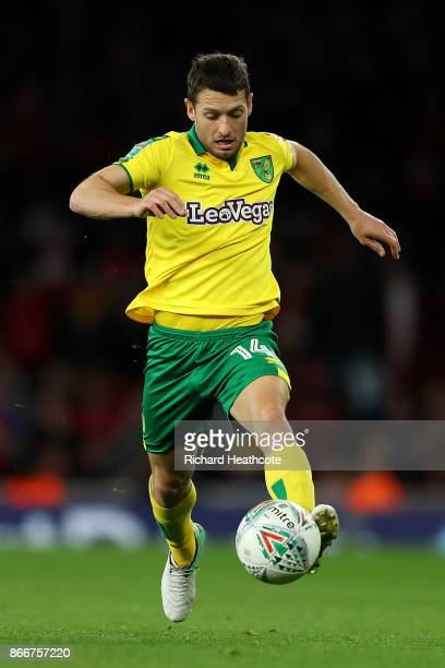 Wesley Hoolahan of Norwich in action during the Carabao Cup Fourth Round match between Arsenal and Norwich City at Emirates Stadium on October 24...