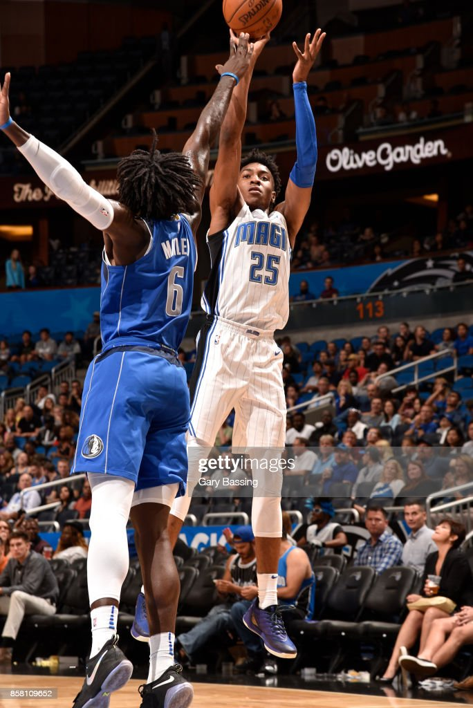 Wesley Iwundu #25 of the Orlando Magic shoots the ball against the Dallas Mavericks during a preseason game on October 5, 2017 at Amway Center in Orlando, Florida.