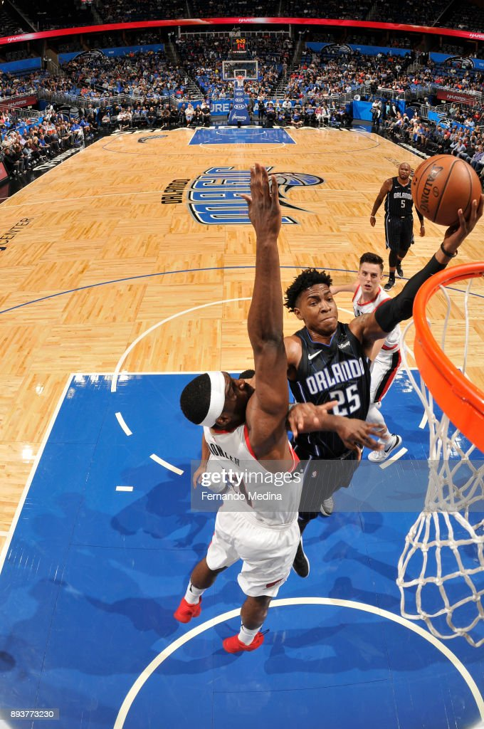 Wesley Iwundu #25 of the Orlando Magic shoots the ball against the Portland Trail Blazers on December 15, 2017 at Amway Center in Orlando, Florida.