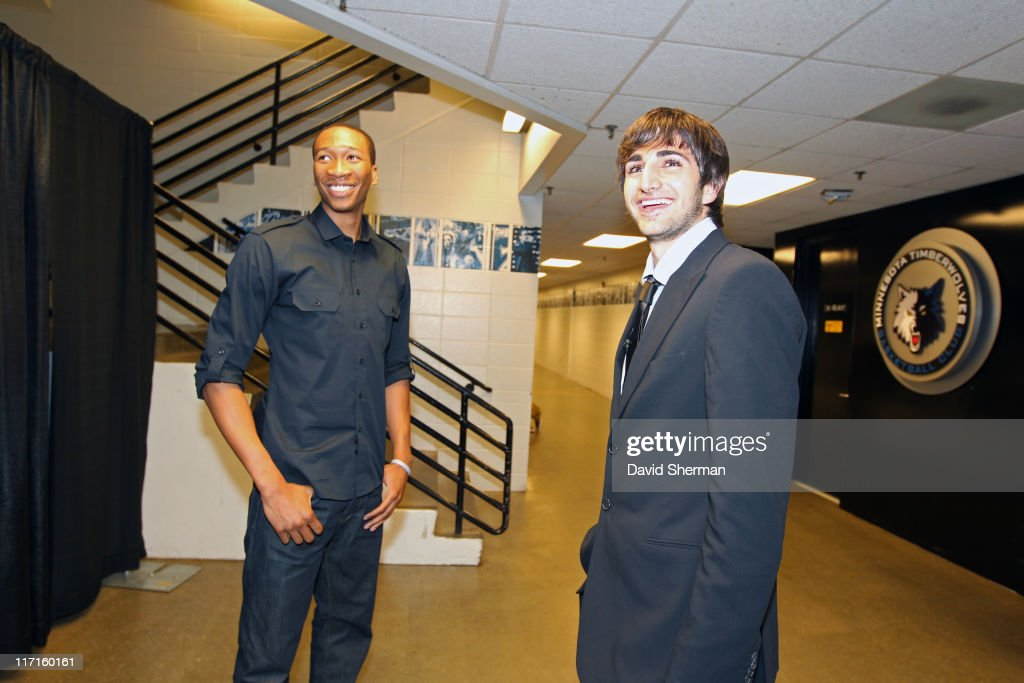 <a gi-track='captionPersonalityLinkClicked' href=/galleries/search?phrase=Wesley+Johnson+-+Basketball+Player&family=editorial&specificpeople=4184049 ng-click='$event.stopPropagation()'>Wesley Johnson</a> and <a gi-track='captionPersonalityLinkClicked' href=/galleries/search?phrase=Ricky+Rubio&family=editorial&specificpeople=4028920 ng-click='$event.stopPropagation()'>Ricky Rubio</a> of the Minnesota Timberwolves attend the team's 2011 NBA Draft Party at Target Center on June 23, 2011 in Minneapolis, Minnesota.