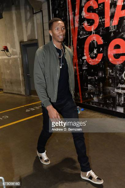 Wesley Johnson of the LA Clippers arrives before the game against the Utah Jazz in Game Five of the Western Conference Quarterfinals of the 2017 NBA...