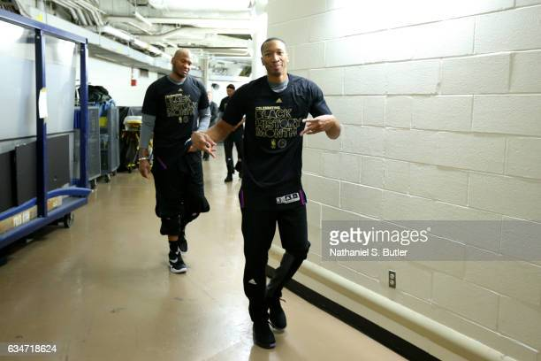 Wesley Johnson of the LA Clippers poses for a photo while walking to the court before the game against the New York Knicks on February 8 2017 at...