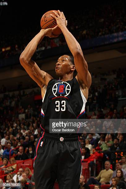 Wesley Johnson of the Los Angeles Clippers shoots the ball against the Miami Heat on February 7 2016 at American Airlines Arena in Miami Florida NOTE...